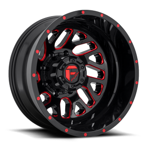 Triton Dually Rear - D656 Gloss Black w/ Candy Red 8 lug