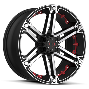 Tuff A.T. Wheels T-01 6 Flat Black w/ Machined Face & Flange & Red Inserts