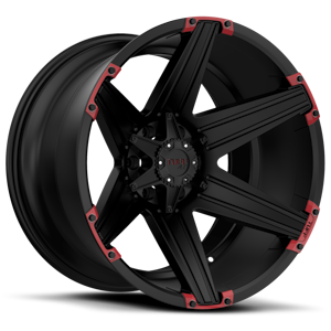 Tuff A.T. Wheels T-12 5 Satin Black with Red Inserts