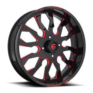 FF37 - UTV Gloss Black w/ Candy Red 4 lug