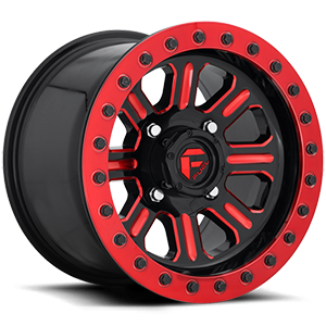 Hardline - D911 Beadlock (Lightweight Ring) Gloss Black w/ Candy Red 4 lug