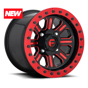 Hardline - D911 Beadlock Gloss Black w/ Candy Red 4 lug