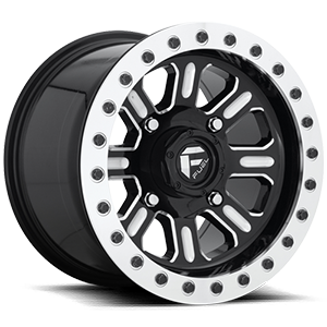 Hardline - D910 Beadlock (Lightweight Ring) Gloss Black & Milled 4 lug