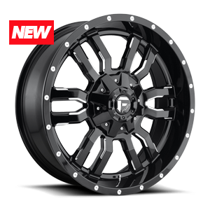 Fuel UTV Wheels Sledge - D595 4 Gloss Black & Milled