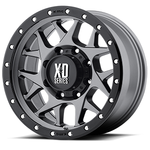 XD127 Bully Matte Gray w/ Black Ring 8 lug