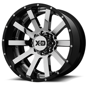 XD Series by KMC XD200 Heist 8 Chrome Center w/ Gloss Black Milled Lip