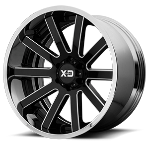 XD Series by KMC XD200 Heist 6 Gloss Black Milled Center w/ Chrome Lip