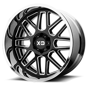 XD Series by KMC XD201 Grenade 6 Gloss Black Milled Center w/ Chrome Lip