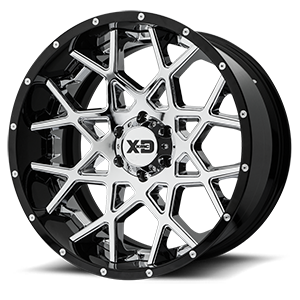 XD Series by KMC XD203 Chopstix 6 Chrome Center w/ Gloss Black Milled Lip