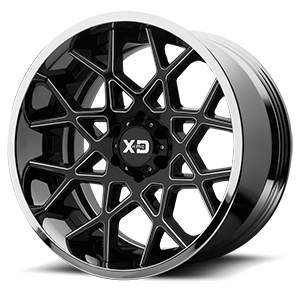 XD Series by KMC XD203 Chopstix 6 Gloss Black Milled Center w/ Chrome Lip