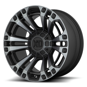 XD Series by KMC XD851 Monster 3 6 Gloss Black Machined w/ Gray Tint
