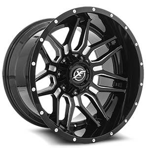 XF-222 Gloss Black Machined - 20x12 5 lug