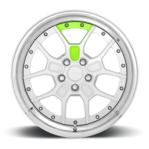 ZMO Gloss White w Neon Yellow Accent 5 lug