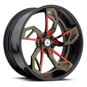 Asanti Forged Wheels C/X Series CX806 5 Brown and Red with Black Lip