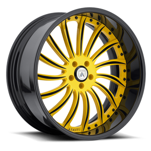 Asanti Forged Wheels A/F Series AF815 5 Custom-Yellow with Black Lip