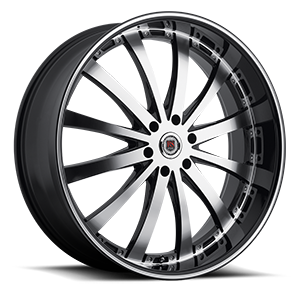 Red Sport Wheels Rome 6 Machined with Black Lip
