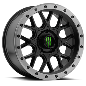 Monster Energy LE 649 5 Satin Black with Anthracite Grey Beadlock-Style Lip and Green Monster M-Claw Cap