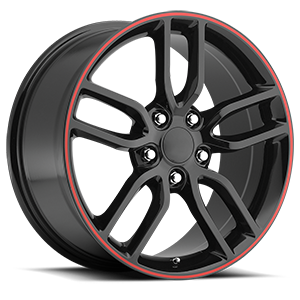 Factory Reproductions Style 26 5 Gloss Black with Red Stripe
