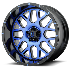 XD Series by KMC XD820 Grenade 5 Satin Black Machined Face w/ Blue Tinted Clear Coat