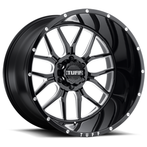 Tuff A.T. Wheels T-23 6 Gloss Black w/ Milled Spokes and Dimples