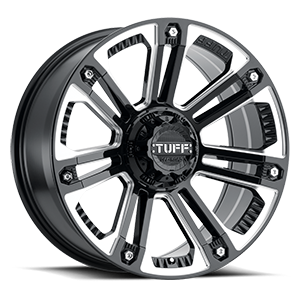 Tuff A.T. Wheels T-22 6 Gloss Black w/ Milled Spokes and Stainless Steel Bolts