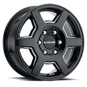 Raceline Wheels 156B Surge 6 Gloss Black Milled