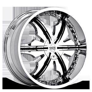 Status Wheels 225 Cane 5 Chrome w/Black v-inserts