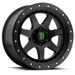 Monster Energy LE 540 6 Satin Black with Satin Black Simulated Beadlock-Style Lip and Green Monster M-Claw Cap