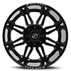 6 LUG XF-204 BLACK MILLED WINDOW - 24X14