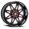 6 LUG 963 GLADIATOR GLOSS BLACK WITH RED MILLING