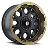 6 LUG 968 SHIELD FLAT BLACK FACE W/ FLAT BRONZE LIP