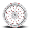 8 LUG FF19D - SUPER SINGLE FRONT POLISHED W/ RED ACCENTS