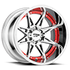 6 LUG MO993 HYDRA CHROME WITH RED INSERTS