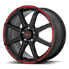 5 LUG MR142-CS8 SATIN BLACK WITH RED PINSTRIPE