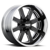 6 LUG MO200 GLOSS BLACK MILLED CENTER W/ CHROME LIP