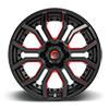 6 LUG RAGE - D712 GLOSS BLACK W/ CANDY RED