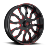 4 LUG FF37 - UTV GLOSS BLACK W/ CANDY RED