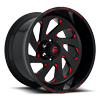 6 LUG VORTEX - D638 GLOSS BLACK W/ CANDY RED