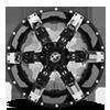 5 LUG XF-214 GLOSS BLACK W/ CHROME INSERTS - 20X12