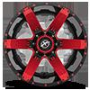 5 LUG XF-214 GLOSS BLACK W/ RED INSERTS - 20X12