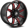5 LUG XF-215 GLOSS BLACK W/ RED MILLING - 20X10