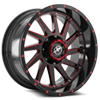5 LUG XF-216 GLOSS BLACK W/ RED MILLING - 20X10