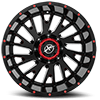 5 LUG XF-221 GLOSS BLACK W/ RED MILLING - 20X10