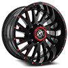 5 LUG XF-221 GLOSS BLACK W/ RED MILLING - 20X10
