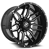 5 LUG XF-222 GLOSS BLACK MACHINED - 20X12