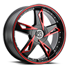 5 LUG V84 SATIN BLACK MACHINED RED